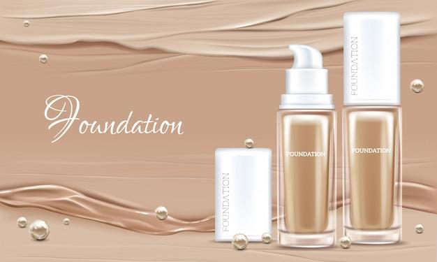 Vector 3d cartel realista con corrector, productos de cosméticos beige en paquete de vidrio.