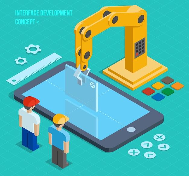 Vector 3d concepto de desarrollo de interfaz de usuario isométrica. aplicación y software, pantalla y teléfono