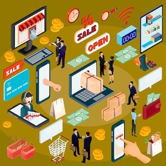 Vector 3d concepto de ilustración isométrica de comercio electrónico, tienda en línea.