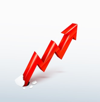 Vector 3d flecha roja ascendente rompe a través de la superficie, concepto de crecimiento incontenible