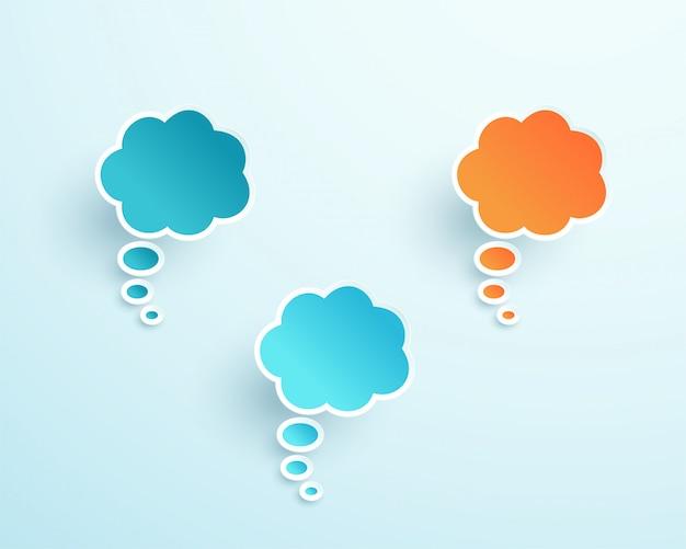 Vector 3d formas de burbujas de pensamiento colorido