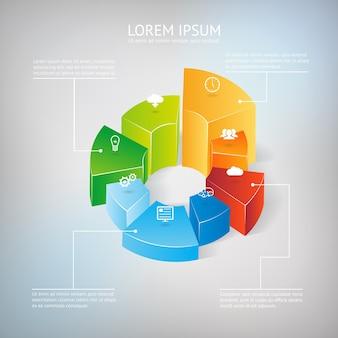 Vector 3d gráfico circular elemento de infografía gráfico