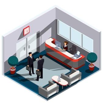 Vector 3d ilustración isométrica interior de la recepción