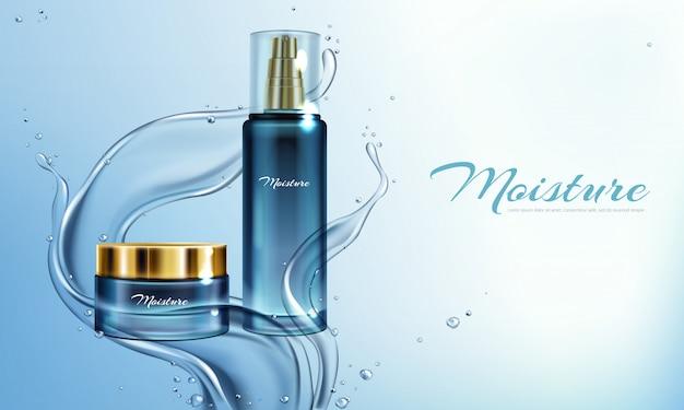 Vector 3d ilustración realista con crema hidratante, loción en salpicaduras de agua.