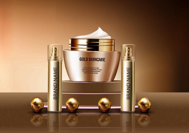Vector 3d maqueta realista de perfume y cosméticos de loción para el cuidado de la piel de oro