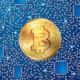 Vector 3d realista moneda de bitcoin