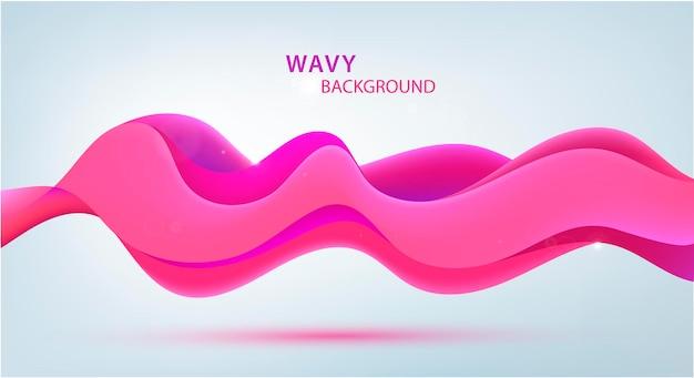 Vector 3d sonido onda rosa fondo moderno abstracto ondulado cartel de flujo colorido banner horizontal
