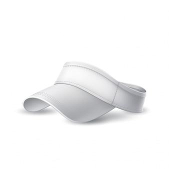 Vector 3d tenis, gorra de bádminton blanco maqueta