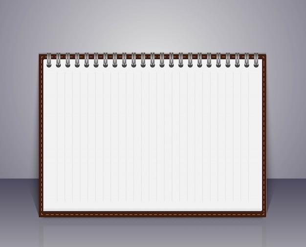Vector abierto cuaderno en blanco.