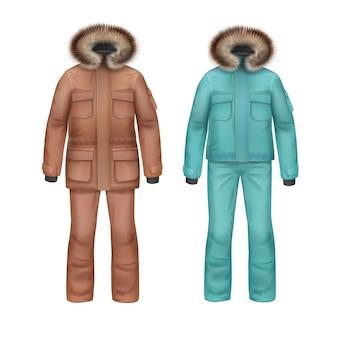 Vector abrigo de invierno deportivo marrón y turquesa con capucha de piel y pantalones vista frontal aislado sobre fondo blanco.