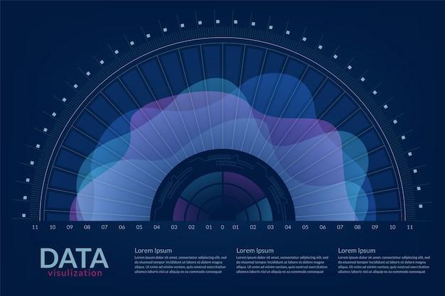 Vector abstracto 3d visualización de datos grandes.
