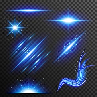 Vector abstracto azul brillo luz colección