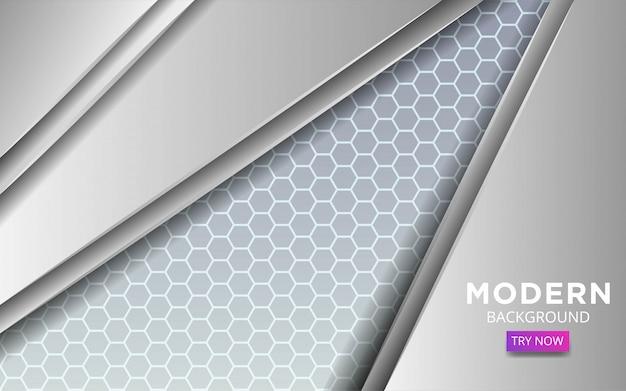 Vector abstracto blanco moderno con línea en textura hexagonal.