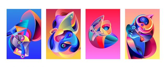 Vector abstracto colorido geométrico patrón curvy fondo conjunto
