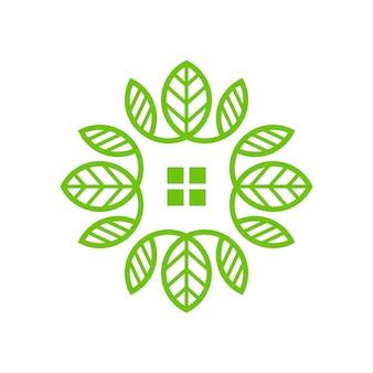 Vector abstracto de la ilustración del logotipo simple de la casa de la hoja
