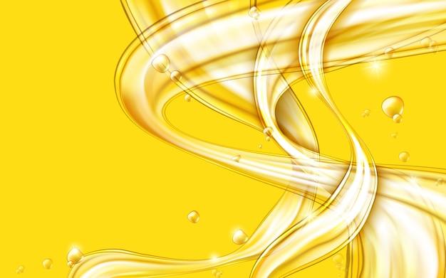 Vector abstracto líquido que fluye dorado amarillo