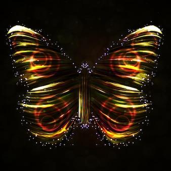 Vector abstracto de mariposa brillante, tira colorida futurista