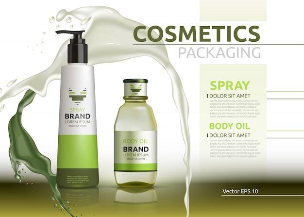Vector aceites corporales y aerosoles productos naturales botellas realistas.