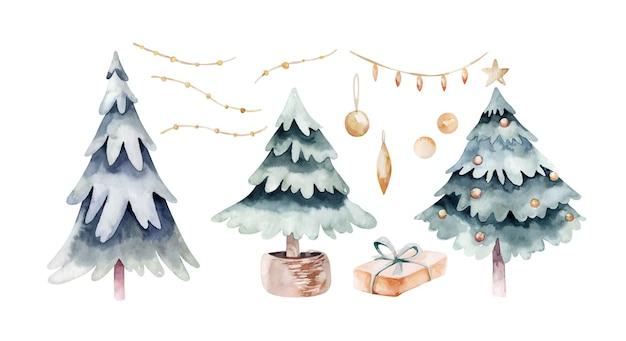 Vector acuarela artística decoración de navidad y año nuevo colección de elemetn aislado sobre fondo blanco. conjunto de elementos de decoración de navidad dibujados a mano. abeto, bola, caja de regalo.