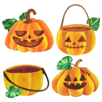 Vector de acuarela calabazas de halloween.