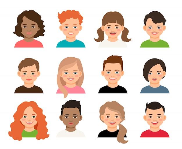 Vector adolescentes o pupilas niños caras. jóvenes adolescentes y varones avatares aislados.