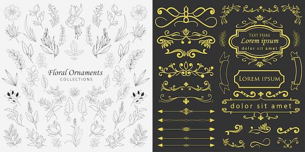 Vector de adornos florales dibujados a mano