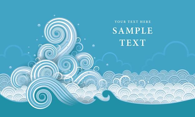 Vector de agua tailandesa, elemento de diseño de onda abstracta