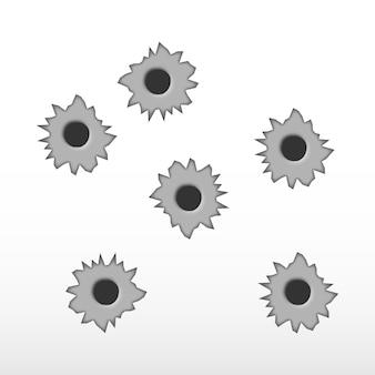 Vector de agujero de bala de metal