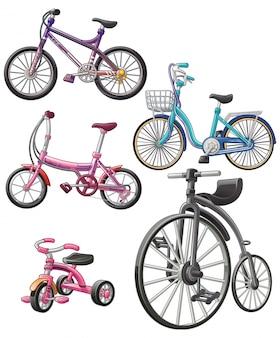 Vector aislado 5 bicicletas diferentes.