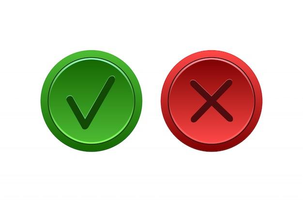 Vector aislado botones de marca de verificación y cruz en el espacio en blanco.