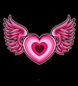 Vector de ala de corazon