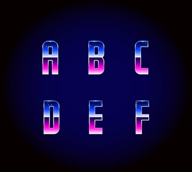 Vector de alfabeto de fuente de ciencia ficción retro futurista de los años 80