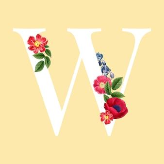 Vector de alfabeto de mayúscula floral w