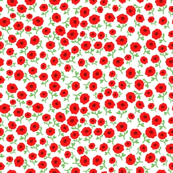 Vector la amapola roja florece el fondo inconsútil del modelo con las flores dibujadas mano.