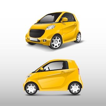 Vector amarillo compacto coche híbrido