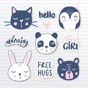 Vector con animales de dibujos animados - panda, pingüino, gato, oso, conejito.