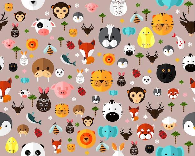Vector animales de patrones sin fisuras textura plana.