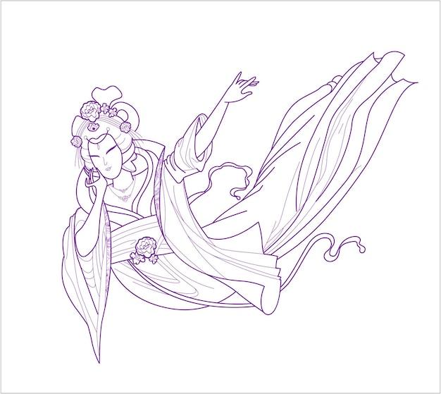 Vector, antiguo, chino, dama, figura