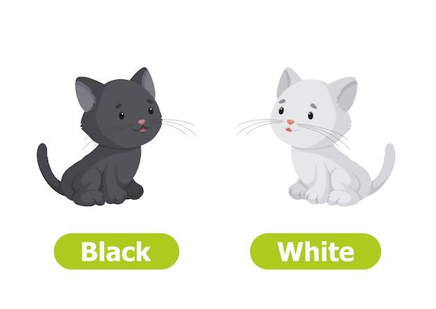 Vector antónimos y opuestos. en blanco y negro. ilustración de personajes de dibujos animados sobre fondo blanco.