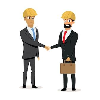 Vector de apretón de manos de socios de negocios de construcción