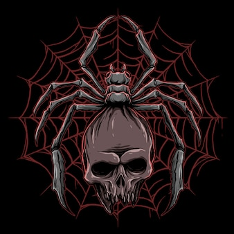 Vector de araña con ilustración de calavera