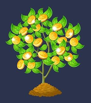 Vector árbol de dinero.