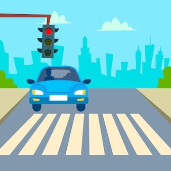 Vector de área urbana. vista de la calle del área de la ciudad. centro de la ciudad. ilustración de dibujos animados plana