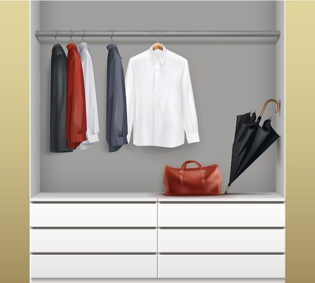 Vector armario blanco abierto con cajones, camisas rojas, negras, azules, paraguas y vista frontal del bolso aislado sobre fondo