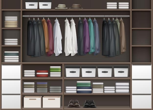 Vector armario guardarropa marrón con estantes llenos de cajas y ropa, camisas, botas, zapatos y sombreros vista frontal