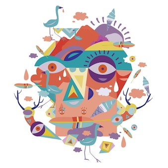 Vector art illustration abstract face mexican style