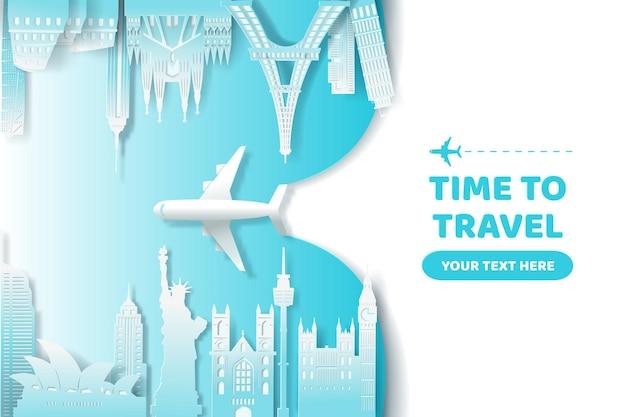 Vector de arte digital del concepto mundial de hito, viajes y turismo. vector eps 10.