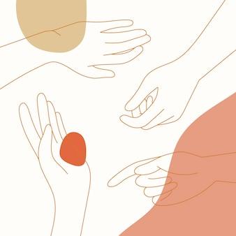 Vector de arte de línea de manos de mujer