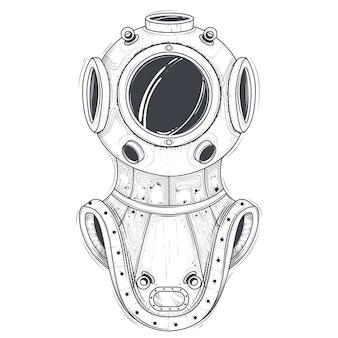 Vector de arte de línea retro equipo de buceo de aguas profundas