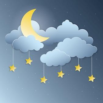 Vector de arte de papel estrellas luz de la luna y colgando